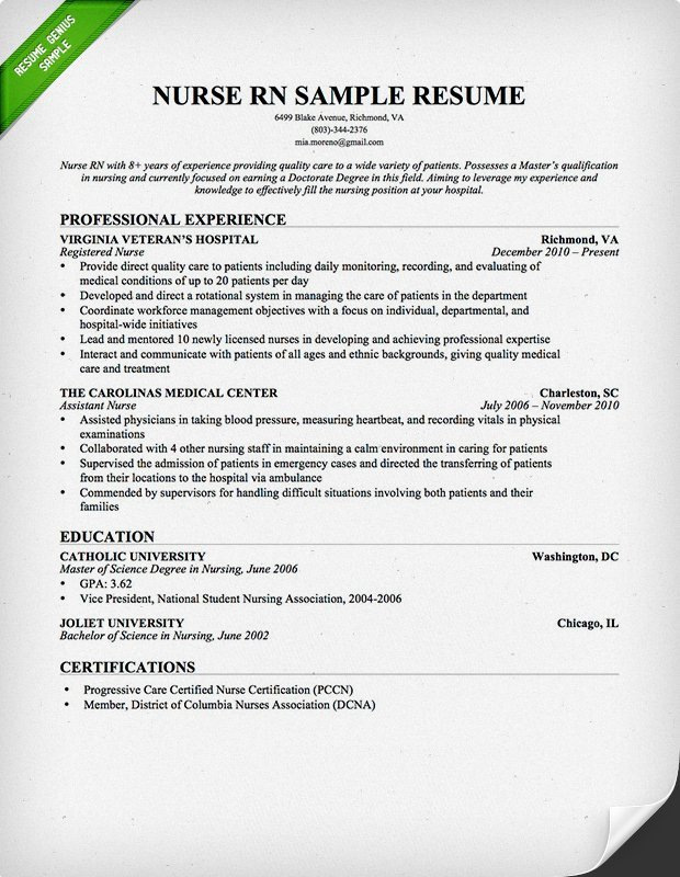 Resume Template for Nursing Nursing Resume Sample & Writing Guide