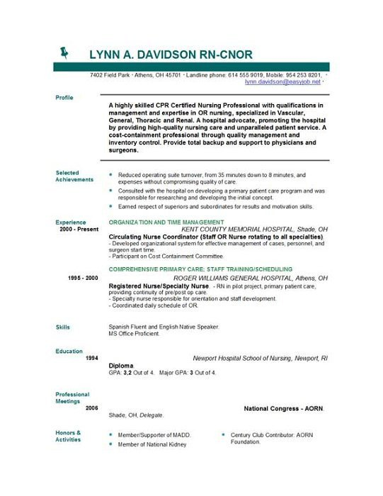 Resume Template for Nursing Nursing Resume Templates