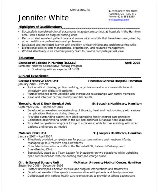 Resume Template for Nursing Sample Student Nurse Resume 8 Examples In Word Pdf