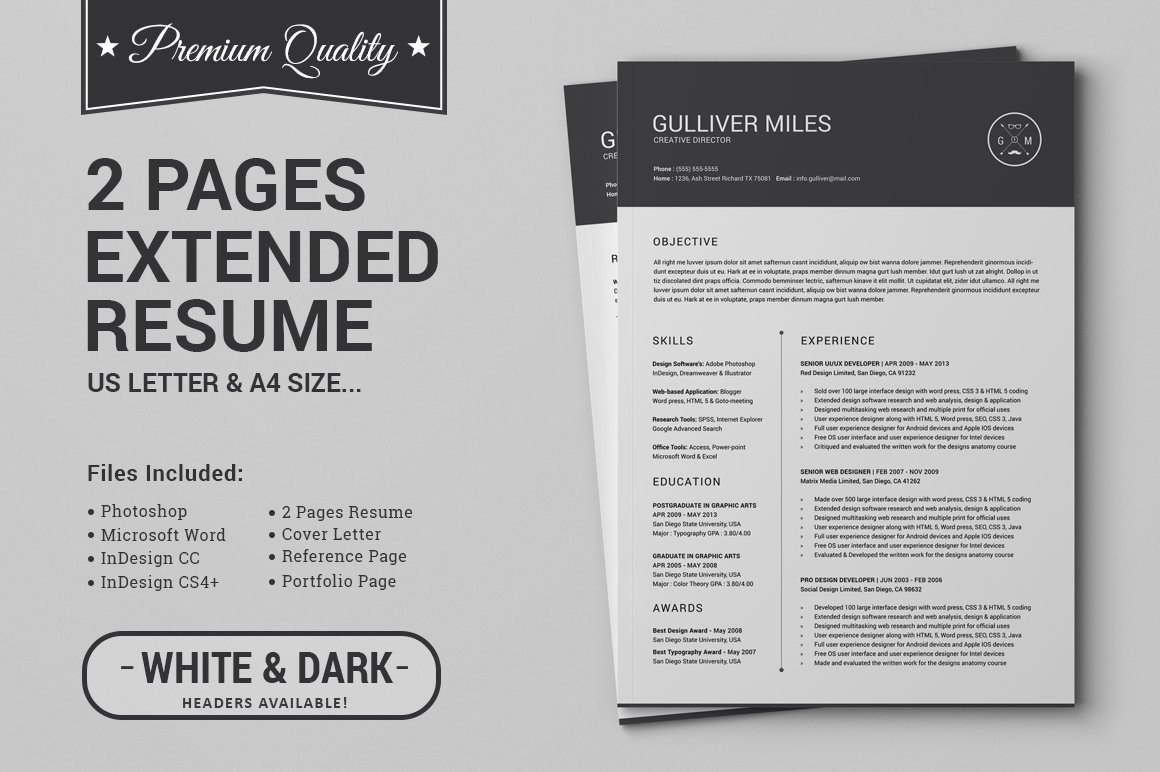 Resume Template for Pages 2 Pages Resume Cv