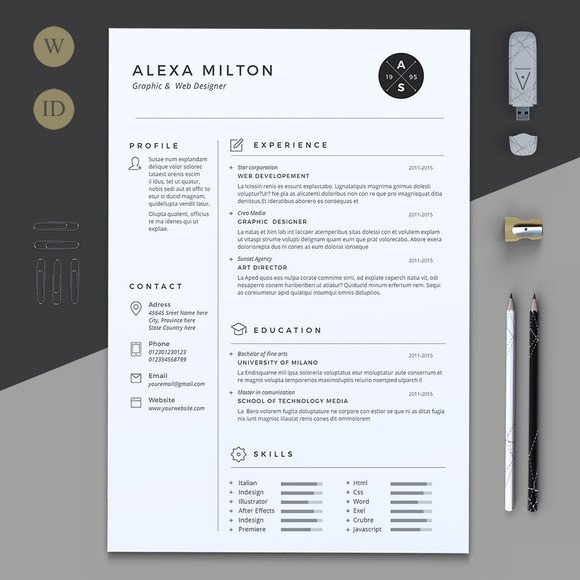 Resume Template for Pages 2 Pages Resume Resume Templates On Creative Market