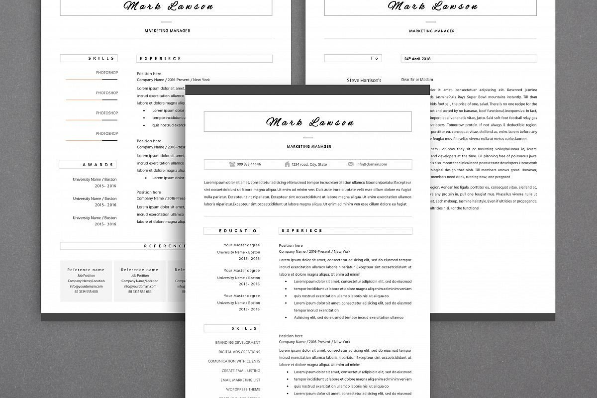 Resume Template for Pages Minimal Resume 3 Pages Cv Template for Word Two Page