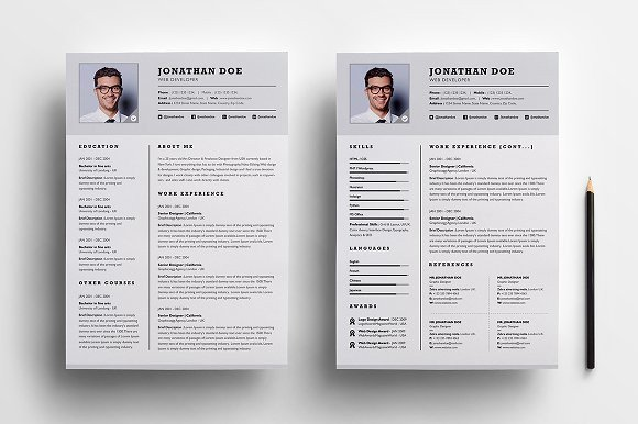 Resume Template for Pages Professional Two Page Resume Set Resume Templates