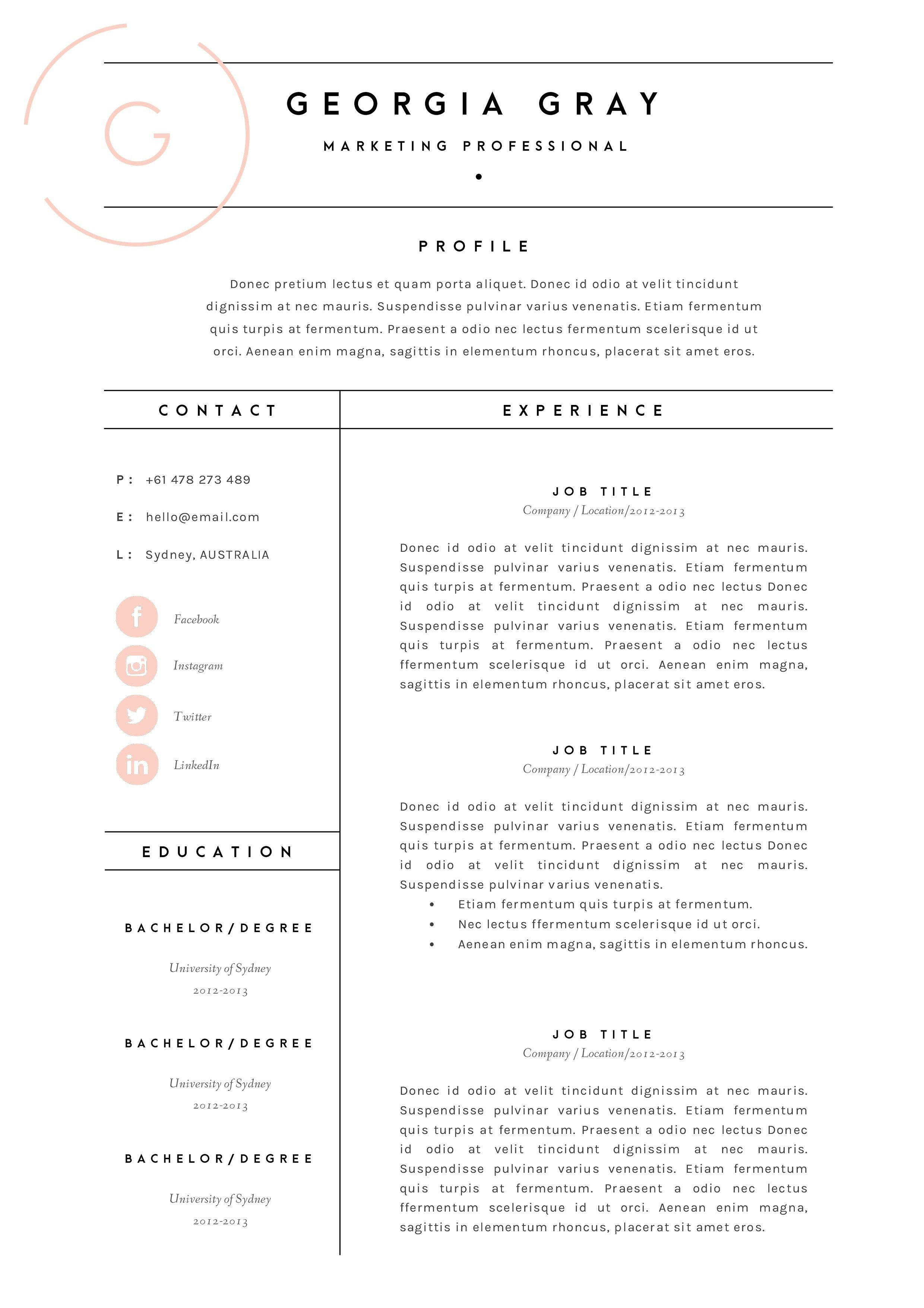 Resume Template for Pages Resume Template 3 Page