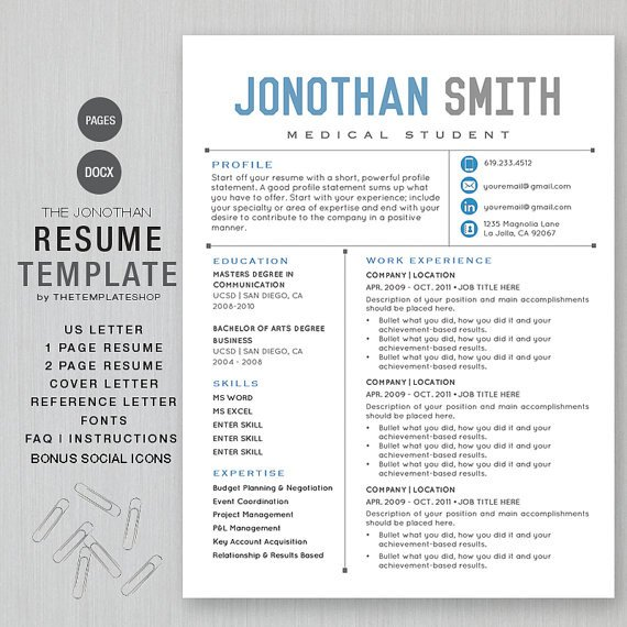 Resume Template for Pages Resume Template Cv Template for Word Printable social