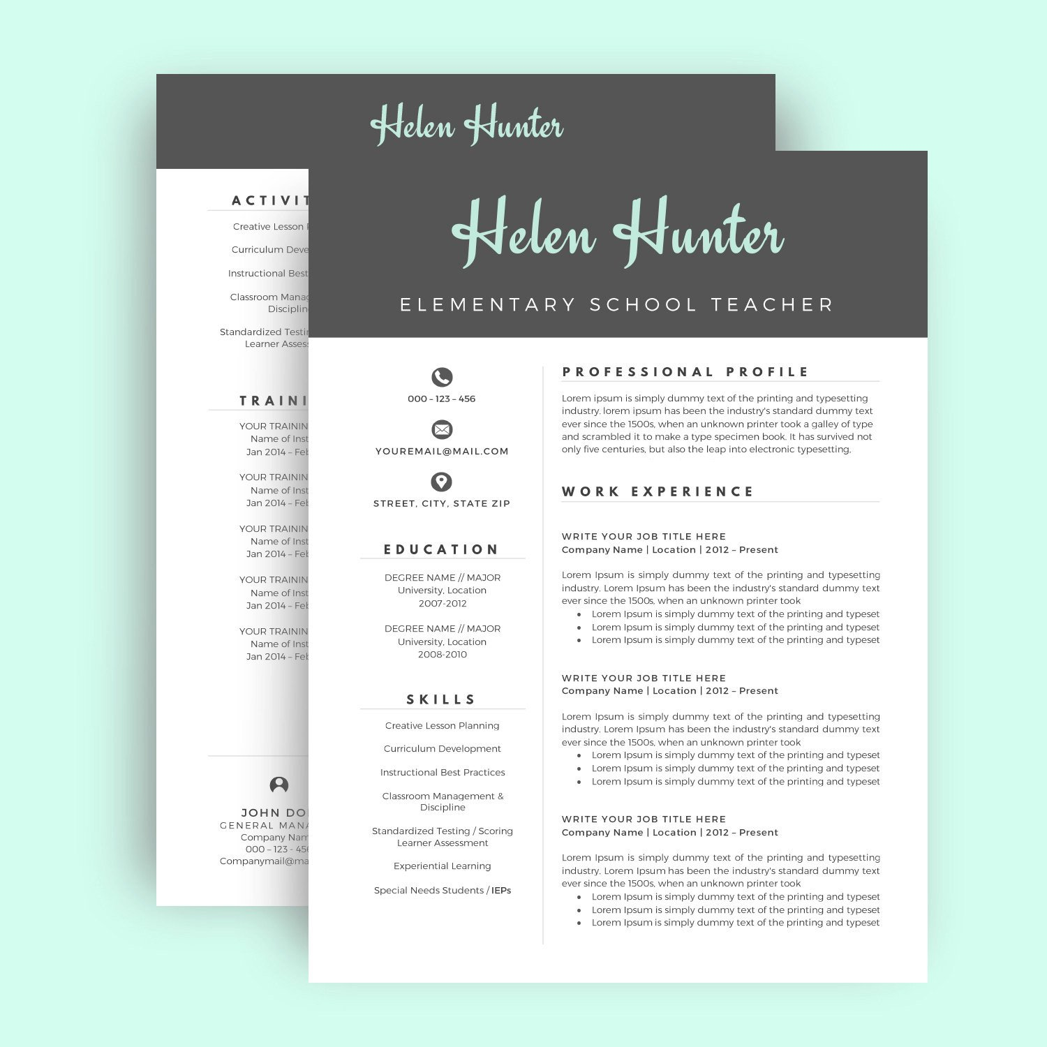 Resume Template for Pages Resume Template Cv Template for Word Two Page Resume Cover