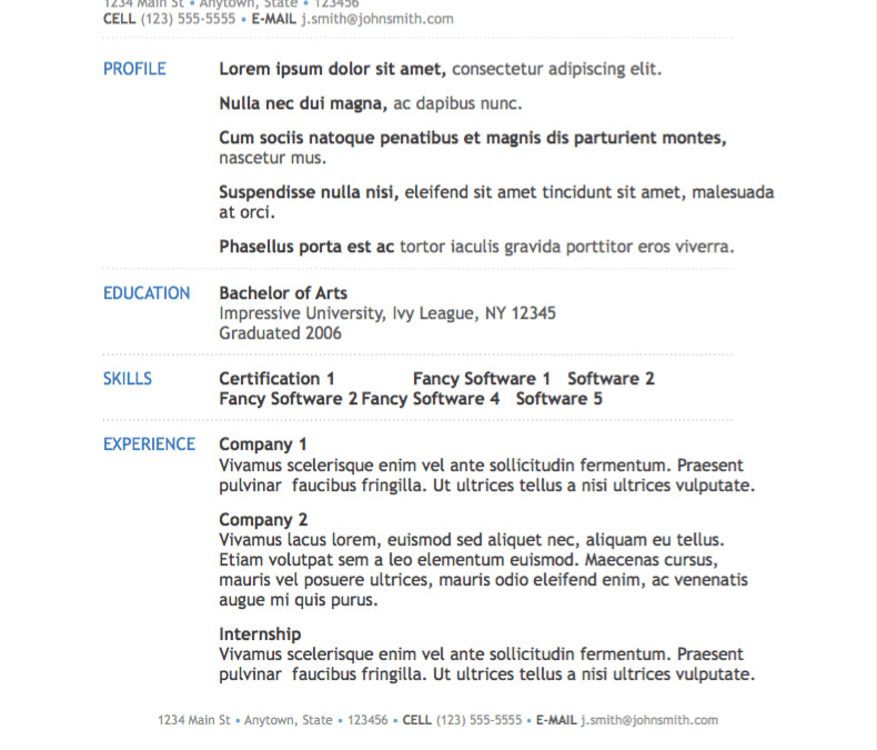 Resume Template for Pages Simple Modern Resume Template for Pages