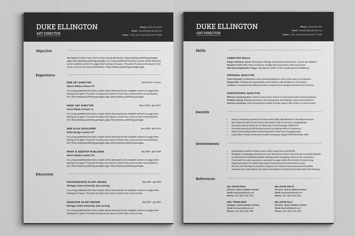 Resume Template for Pages Two Pages Classic Resume Cv Template Resume Templates On