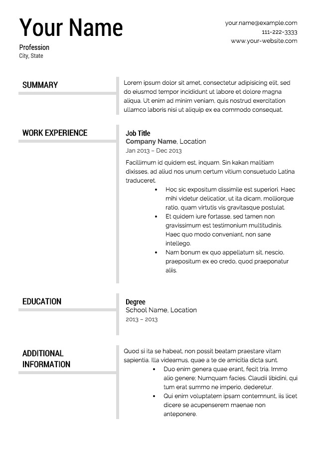 Resume Template Free Download Free Resume Templates