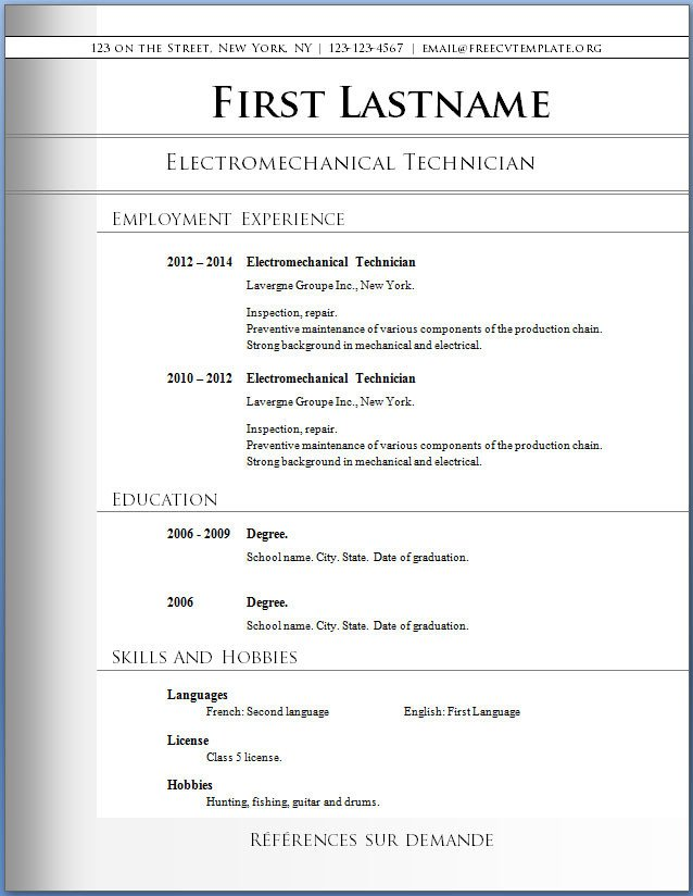 Resume Template Free Download Free Word Resume Templates