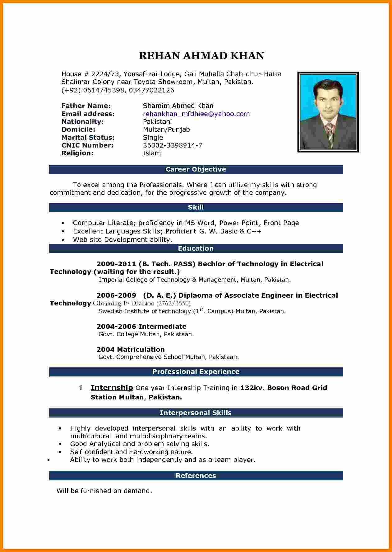 Resume Template Microsoft Word 2007 12 Cv In Ms Word 2007