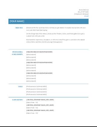 Resume Template Microsoft Word 2007 Cv Resume