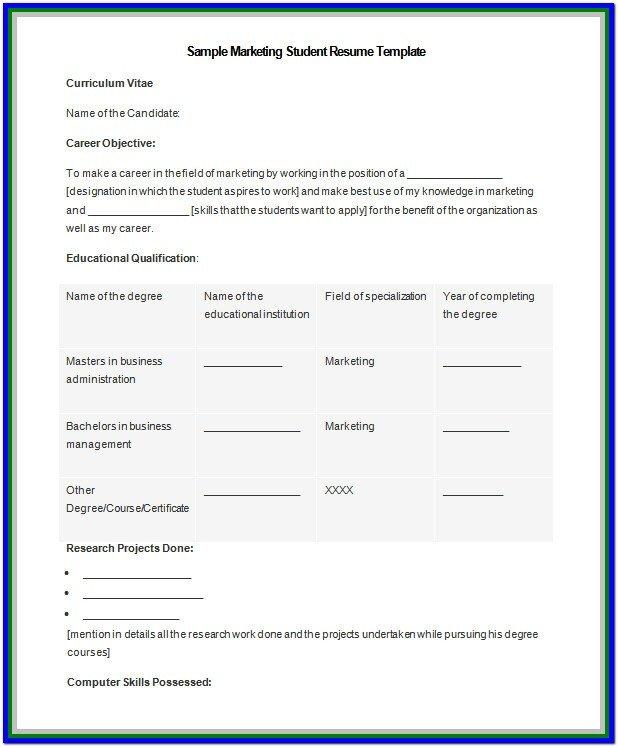 Resume Template Microsoft Word 2007 Resume Templates In Microsoft Word 2007 Resume Resume