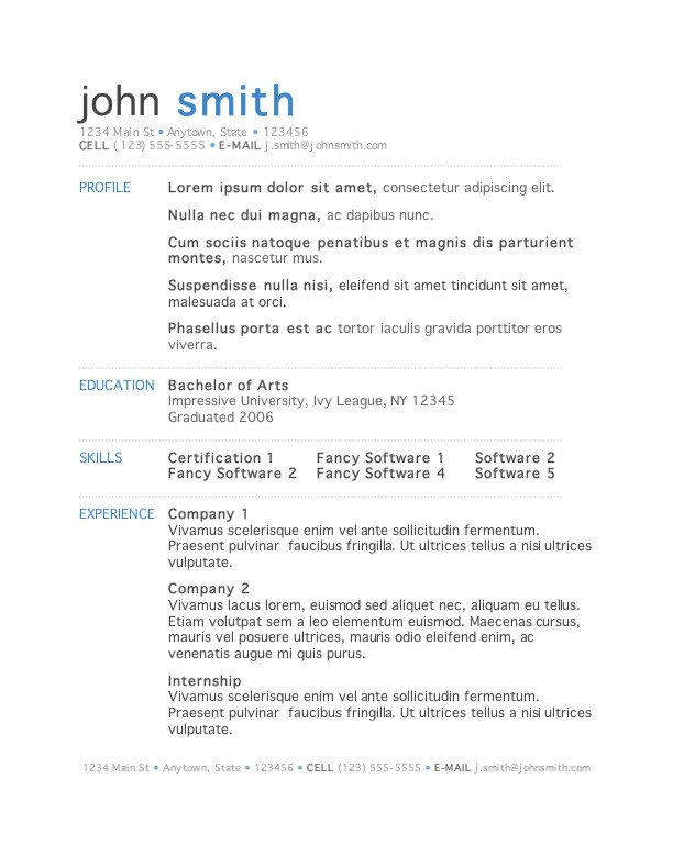 Resume Template Microsoft Word 50 Free Microsoft Word Resume Templates for Download