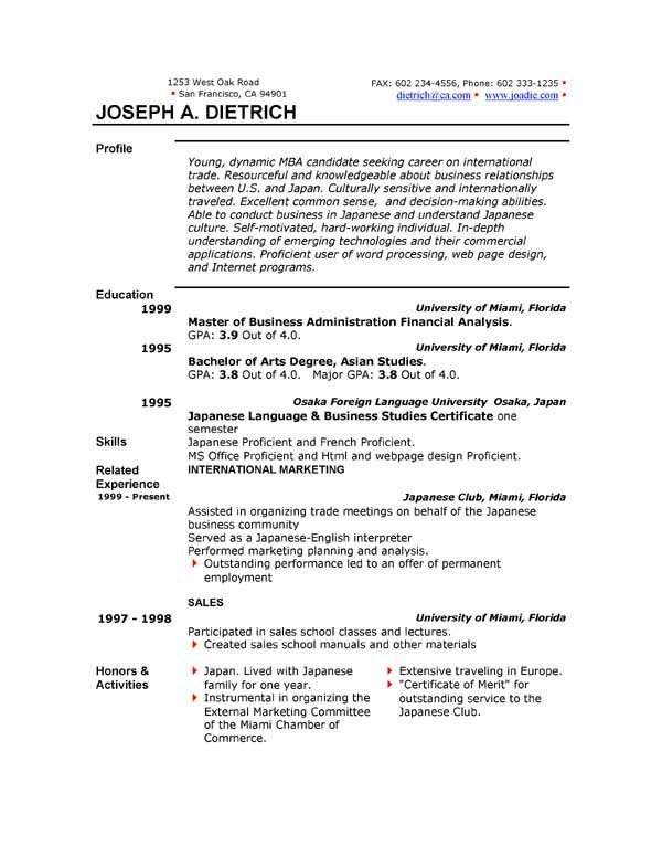 Resume Template Microsoft Word 85 Free Resume Templates