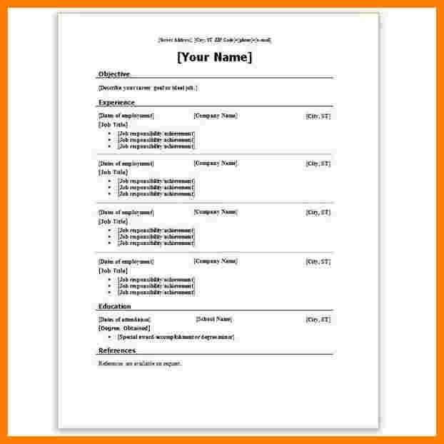 Resume Template Ms Word 2007 7 Resume Template Word 2007