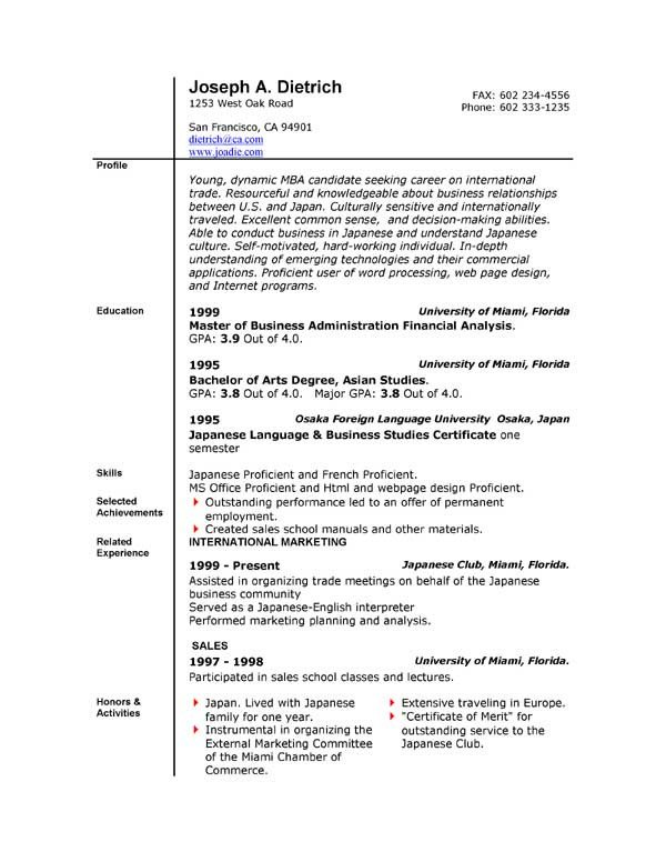 Resume Template Ms Word 2007 85 Free Resume Templates