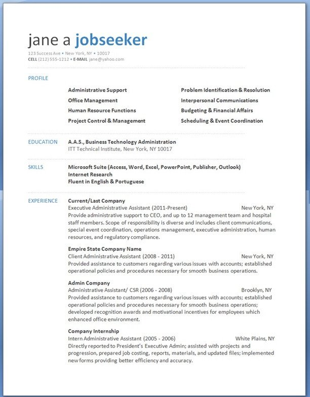 Resume Template Word Download Free Professional Resume Templates Download