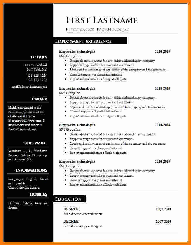 Resume Template Word Free Download 6 Cv format Word Free