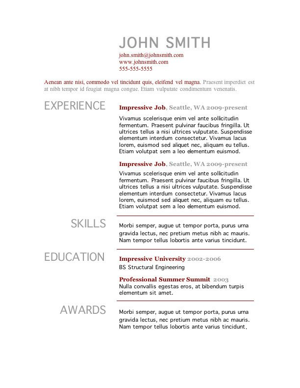 Resume Template Word Free Download 7 Free Resume Templates