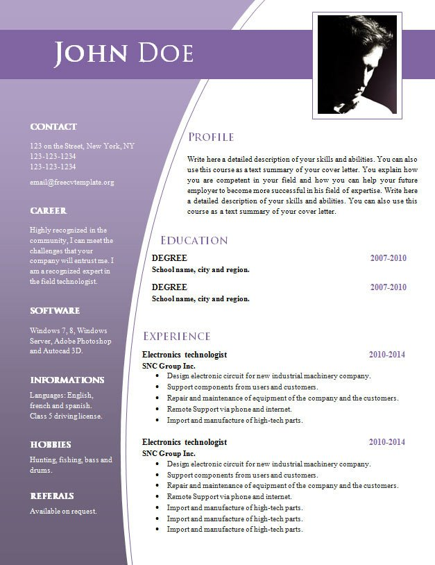 Resume Template Word Free Download Cv Templates for Word Doc 632 – 638 – Free Cv Template