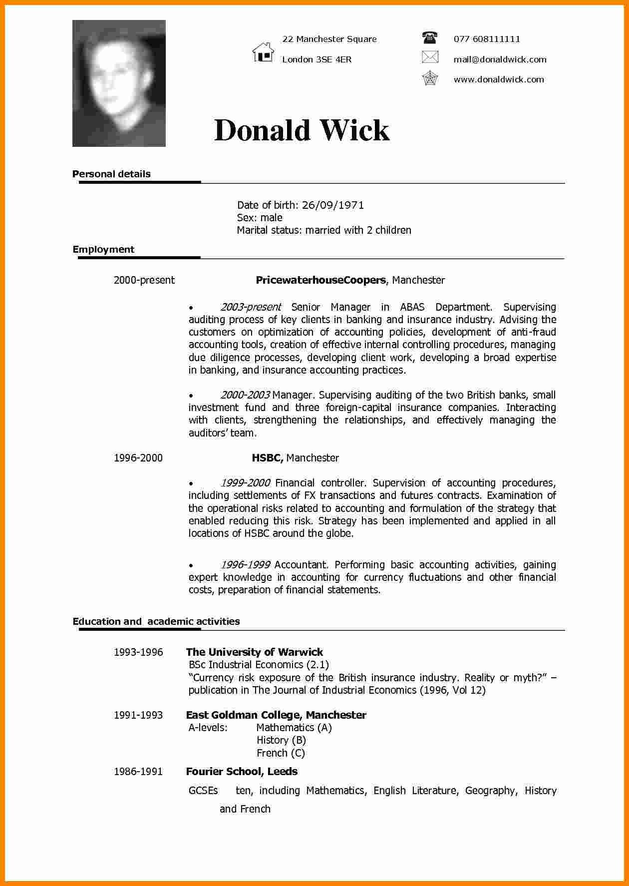 Resume Templates In Word 5 Cv Sample In English