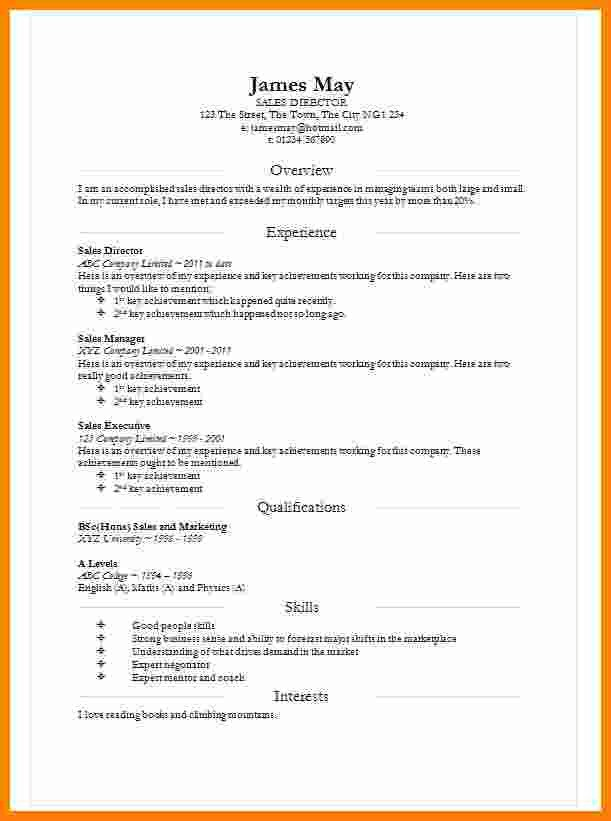 Resume Templates In Word 8 Cv In Word Document