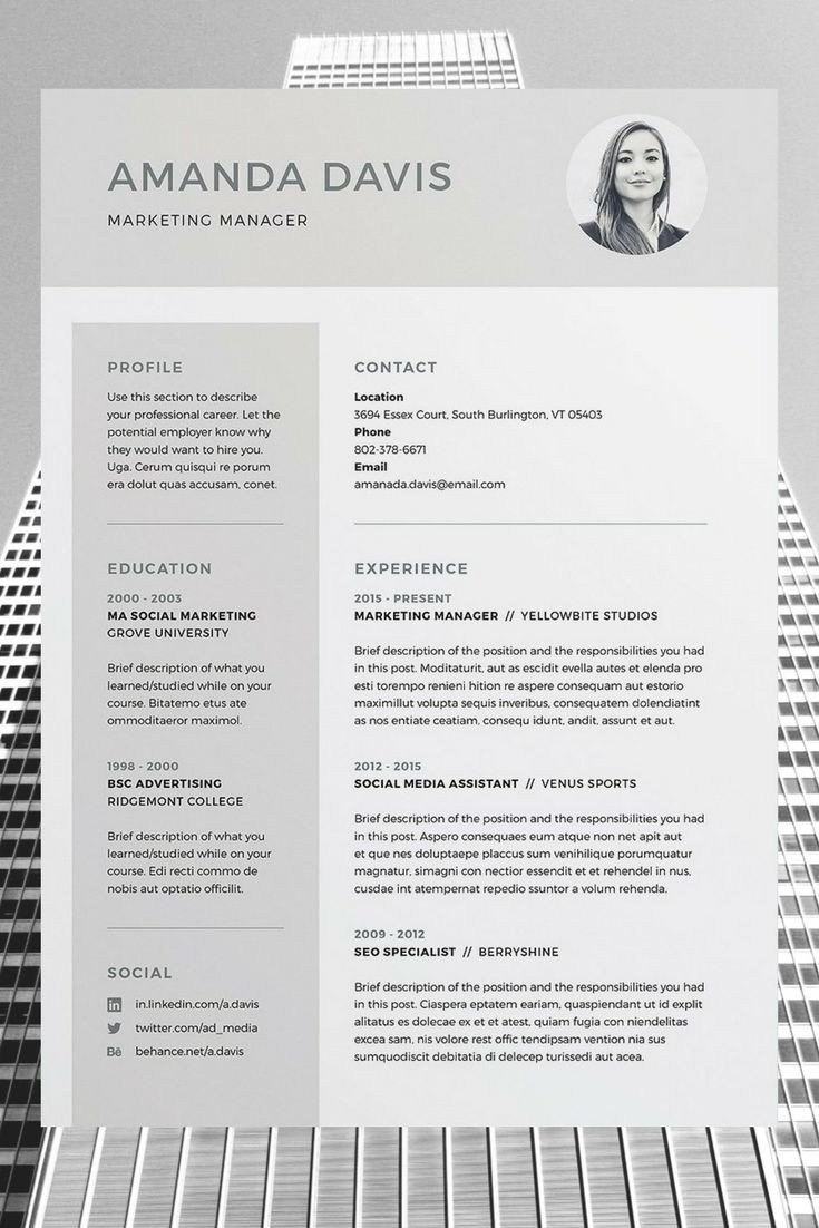 Resume Templates In Word Best 25 Free Cv Template Ideas On Pinterest