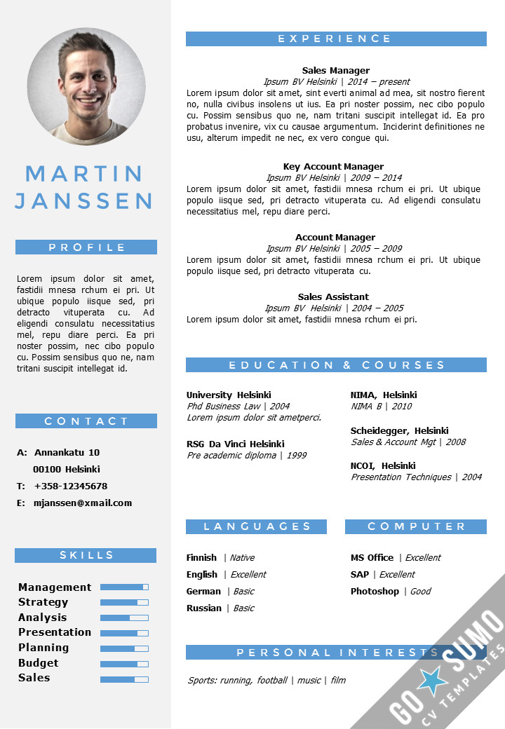 Resume Templates In Word Cv Resume Template Helsinki Cx Pptx Gosumo