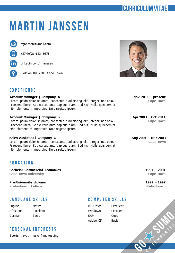 Resume Templates In Word Cv Template Cape town