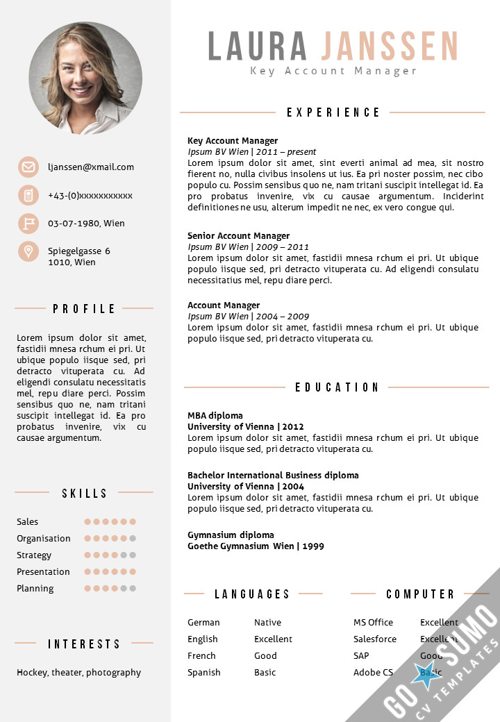 Resume Templates In Word Cv Template Vienna Go Sumo Cv Template