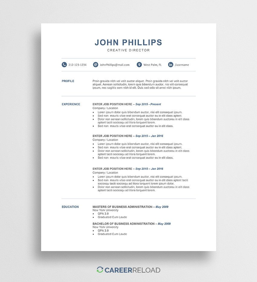 Resume Templates In Word Download Free Resume Templates Free Resources for Job
