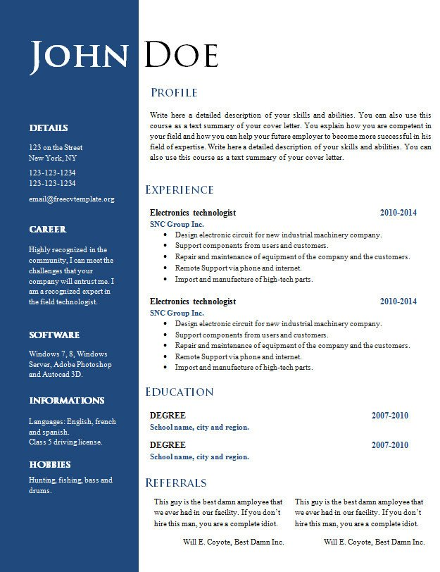 Resume Templates In Word Free Creative Resume Cv Template 547 to 553 – Free Cv