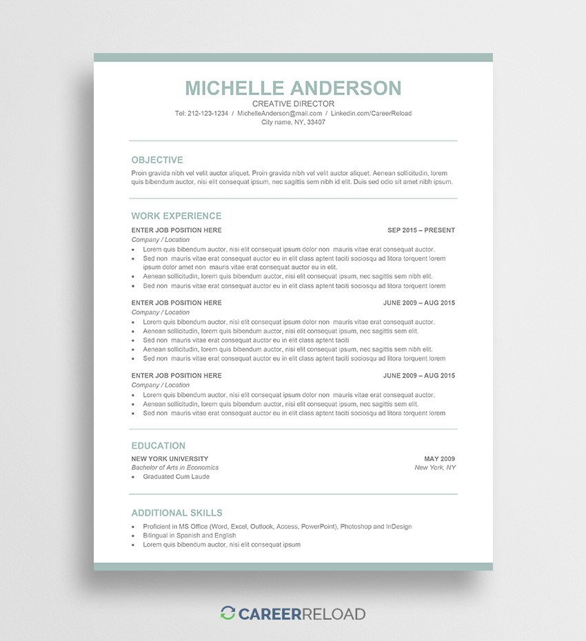 Resume Templates In Word Free Word Resume Templates Free Microsoft Word Cv Templates
