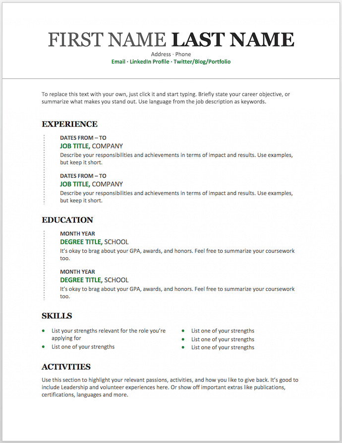 Resume Templates On Word 11 Free Resume Templates You Can Customise In Microsoft Phrase
