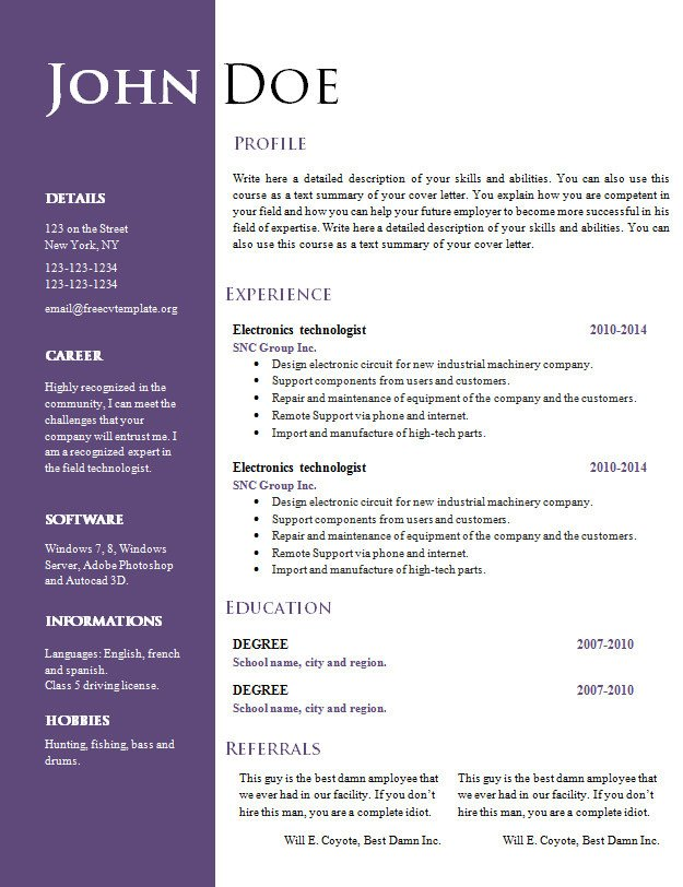 Resume Templates On Word Free Creative Resume Cv Template 547 to 553 – Free Cv
