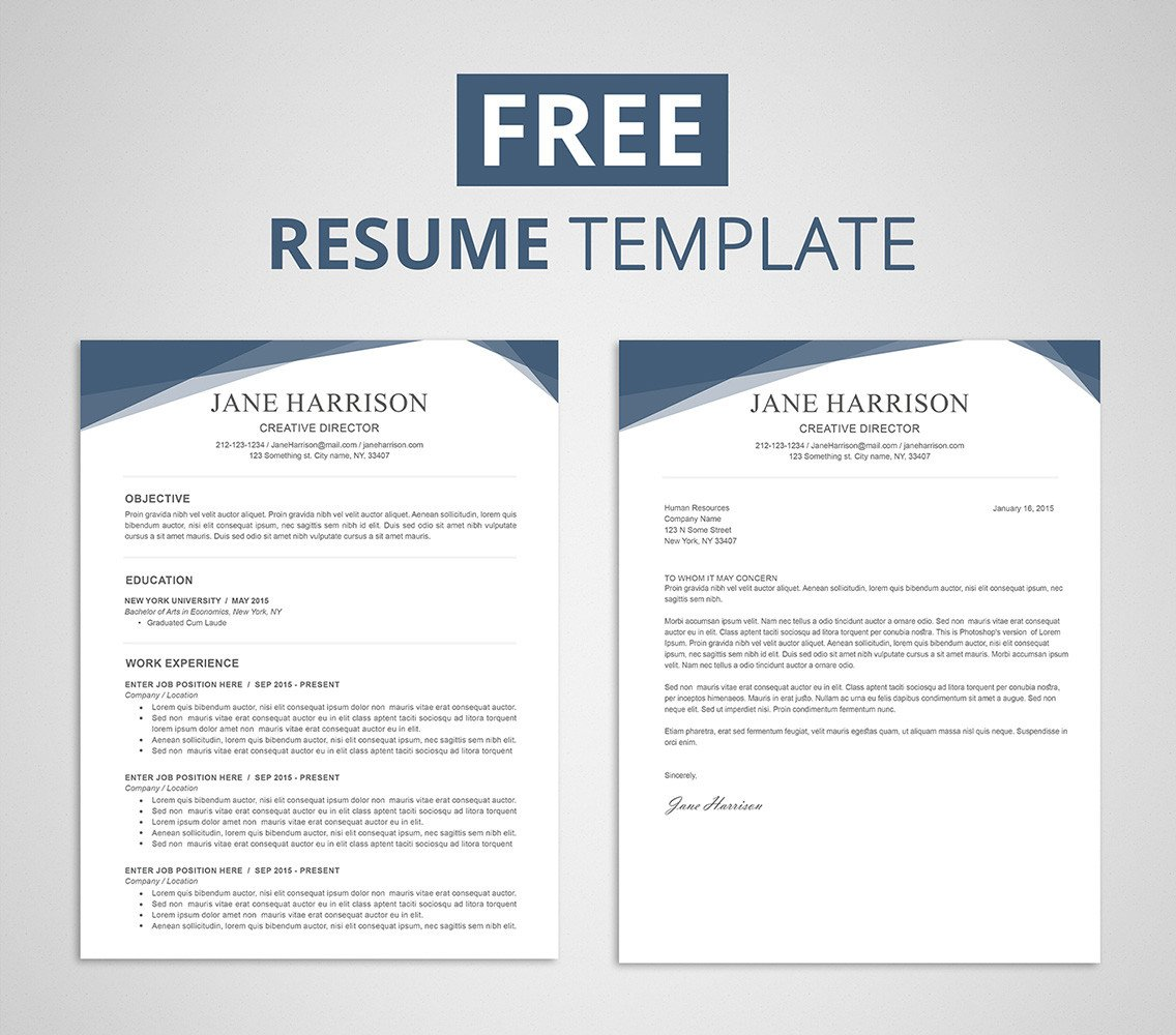 Resume Templates On Word Free Resume Template for Word & Shop Graphicadi