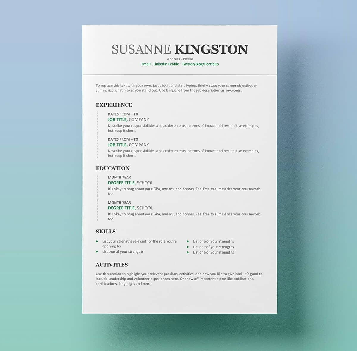 Resume Templates On Word Resume Templates for Word Free 15 Examples for Download