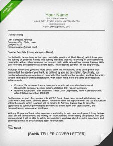 Resumes for Bank Teller Bank Teller Cover Letter Sample