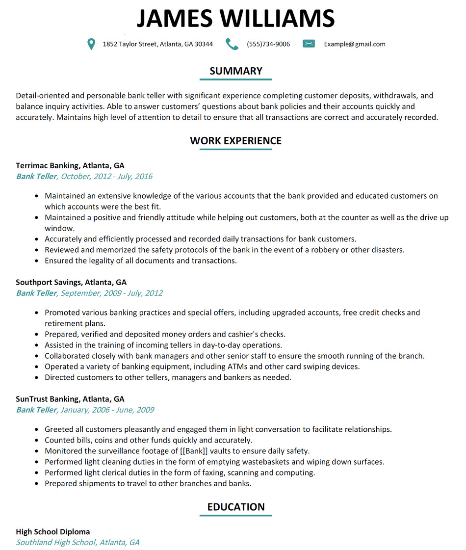 Resumes for Bank Teller Bank Teller Resume