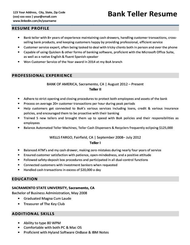 Resumes for Bank Teller Bank Teller Resume Sample & Writing Tips