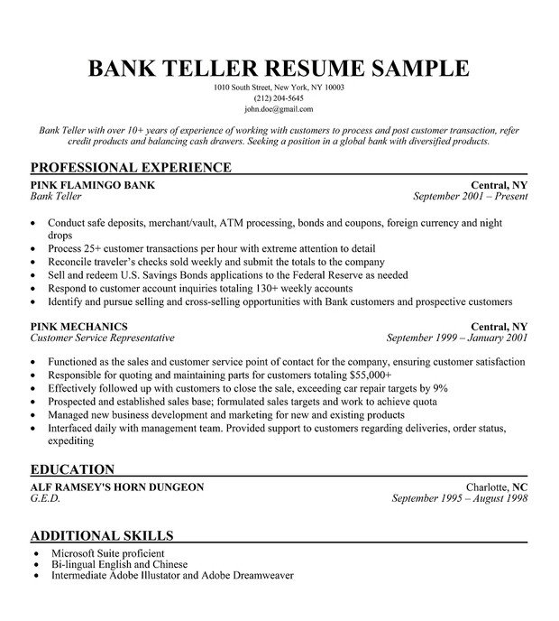 Resumes for Bank Teller Bank Teller Resume Sample