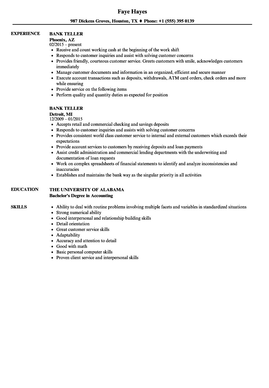 Resumes for Bank Teller Bank Teller Resume Samples