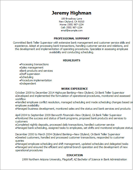 Resumes for Bank Teller Bank Teller Supervisor Resume Template — Best Design