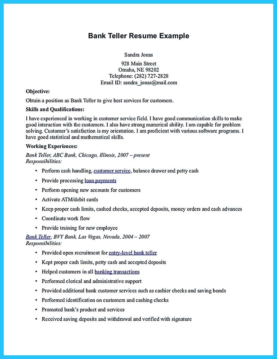 Resumes for Bank Teller E Of Re Mended Banking Resume Examples to Learn