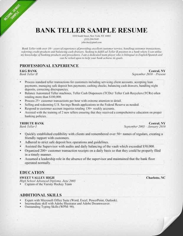 Resumes for Bank Teller Sample Banker Resume Resume Sample