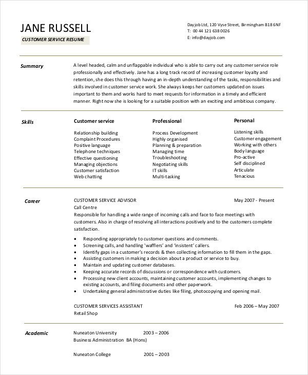 Retail Customer Service Resume 11 Customer Service Resume Templates Pdf Doc