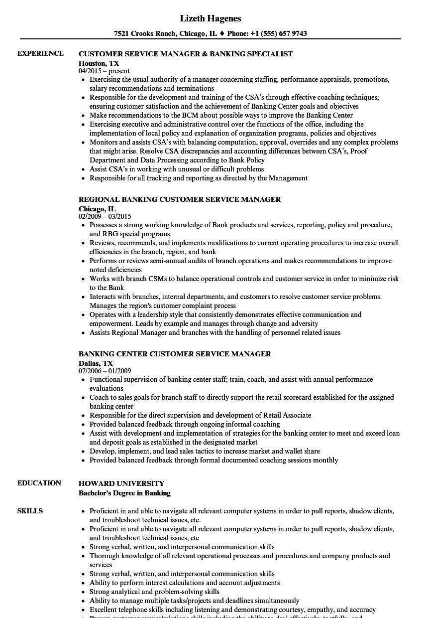 Retail Customer Service Resume Banking Customer Service Resume Samples