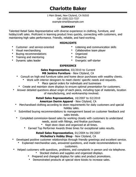 Retail Customer Service Resume Best Rep Retail Sales Resume Example