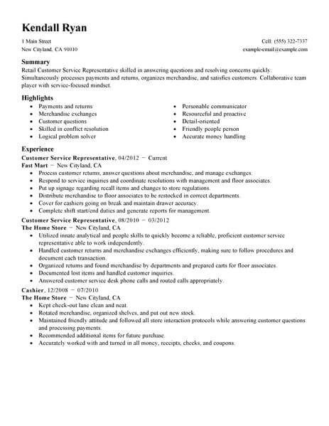 Retail Customer Service Resume Best Retail Customer Service Representative Resume Example
